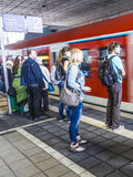 People at the subway station Messe in Frankfurt am Main Stock Photography