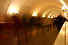 People into the subway tunnel Royalty Free Stock Images