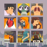 People Suffering from Industrial Smog, Diseases aused By Air Pollution Vector Illustration stock illustration
