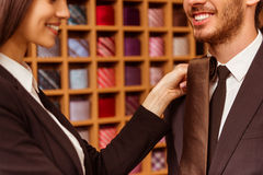 People in suit shop Royalty Free Stock Photos