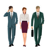 People in suits for office. Young active people in elegant suits for office. Vector set Stock Photography