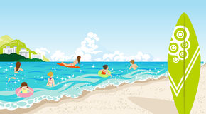 People in Summer beach Royalty Free Stock Photography