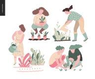 People summer gardening stock illustration
