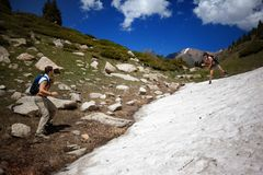 People in the summer mountains Stock Photos