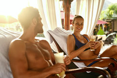 People Summer Vacation. Friends Relaxing Outdoors At Spa Resort Royalty Free Stock Image
