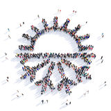 People sun weather 3d. Large and creative group of people gathered together in the shape of the sun, the weather mark. 3D illustration,  against a white Royalty Free Stock Photography