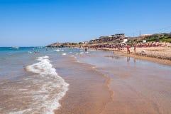 People sunbathe on the Banana beach, Zakynthos, Greece Stock Photos