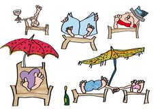 People sunbathing on the beach with newspaper and glass royalty free illustration