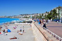 People sunbathing on the beach in Nice, France Royalty Free Stock Photography