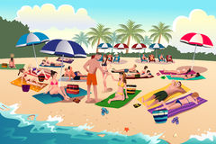 People sunbathing on the beach Royalty Free Stock Photo
