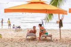 People on sunbed joying Boracay beach. BORACAY ISLAND, PHILIPPINES - November 17, 2017 : People on sunbed joying Boracay beach Stock Images