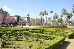 Plaza in park of Seville Royalty Free Stock Images