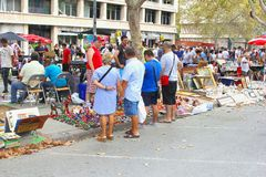People enjoy the outlet flea market in Valencia, Spain Royalty Free Stock Image