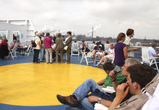 People on sundeck of ferry Royalty Free Stock Images