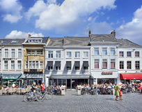 People at sunny terrace on a square, Breda, netherlands Stock Photography