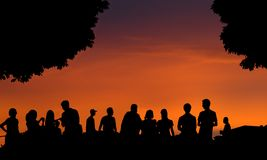 People at sunset Royalty Free Stock Image