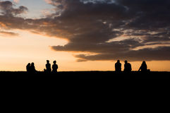 People at sunset Royalty Free Stock Photography