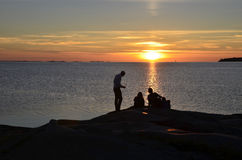 People at sunset Stock Photos