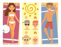 People sunshine tan beach outdoors summer suntan sun characters. Skin protection vacation sunburn vector illustration. Human avatars cute woman degree of Stock Image