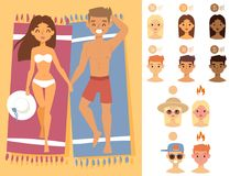 People sunshine tan beach outdoors summer suntan sun characters skin protection sunburn vector illustration. Royalty Free Stock Image
