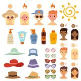 People sunshine tan beach outdoors summer suntan sun characters skin protection sunburn vector illustration. Royalty Free Stock Photos