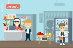 People at supermarket. Checkout with sale person stock illustration