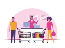 People on supermarket. Customers buying products at supermarket cartoons vector illustration graphic design stock illustration