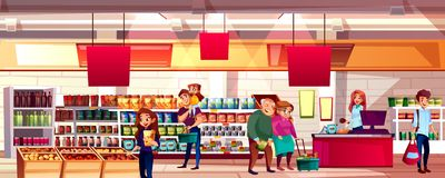 People in supermarket grocery vector illustration. People in supermarket or grocery store vector illustration. Family choosing food products on shelves to vector illustration
