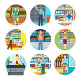 People In Supermarket Icons. With young persons with goods in trolley bag or basket vector illustration stock illustration