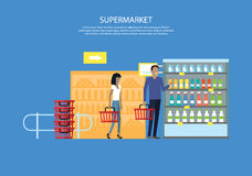 People in Supermarket Interior Design Royalty Free Stock Photos