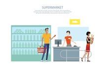 People in Supermarket Interior Design stock illustration