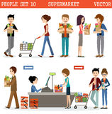 People in a supermarket with purchases royalty free illustration