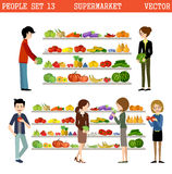 People in a supermarket with purchases. Royalty Free Stock Images