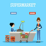 People in a supermarket with purchases Royalty Free Stock Photo