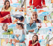 People at the supermarket. Smiling people at the store, customers doing grocery shopping and supermarket clerks, picture collage stock photo