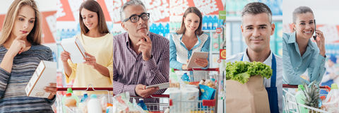 People at the supermarket. Smiling people at the store, customers doing grocery shopping and supermarket clerks, picture collage Royalty Free Stock Image