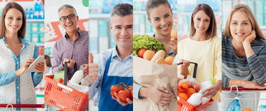 People at the supermarket. Smiling people at the store, customers doing grocery shopping and supermarket clerks, picture collage Stock Photography