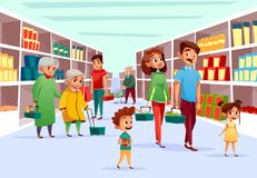 People family shopping in supermarket vector cartoon illustration vector illustration