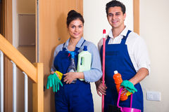 People with supplies ready for cleaning Royalty Free Stock Photo