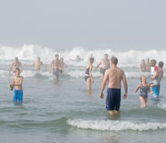 People in Surf, Del Mar California Royalty Free Stock Image