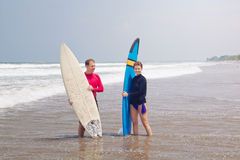 People with surfboards Stock Images