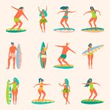 People with surfers. People with surfs and swimming circles on the sea Royalty Free Stock Photography