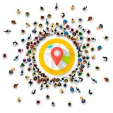 People surround the location point of collection. Vector illustration Royalty Free Stock Images