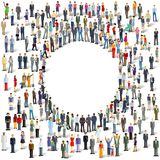 People surrounding open circular area. Illustration of a large group of diverse individuals standing randomly around a cleared open circle in the middle Stock Photos