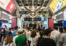 People surrounding Siam station in Bangkok Royalty Free Stock Photo