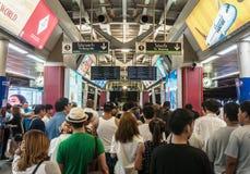 People surrounding Siam station in Bangkok Royalty Free Stock Photo