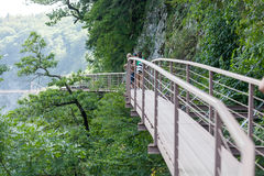 People on the suspension bridge Royalty Free Stock Photos