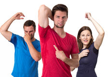 People sweating very badly under armpit Stock Photo