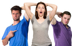 People sweating very badly under armpit stock image