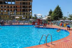 People in sweeming pools of Piscina Barracuda, San Cesario Sul P royalty free stock photos